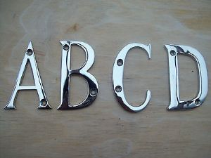 "3""/75mm SOLID BRASS WITH POLISHED CHROME PLATING HOUSE DOOR ALPHABET LETTERS"